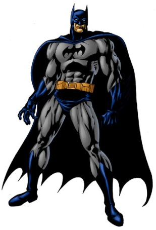 Batman - grey and blue/black costume from comics