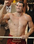 Wladimir Klitschko - in red trunks and pumping fist
