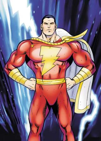 Classic Captain Marvel in classic, fists-on-hips pose